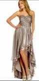 ARIELLA IVY STRAPLESS MELATIC CHIFFON DRESS SILVER