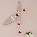 Cake Knife Set With Red Rose Details