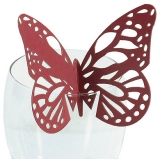 Red Butterfly Wedding Place Card For Glasses
