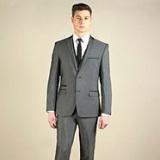 Debenhams - Charcoal semi-plain slim fit 2 button jacket