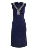 House of Fraser - Precis Petite Navy Embellished Dress