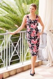 Bonmarche - David Emanuel Rose Print Cotton Sateen Shift Dress