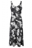 Bonmarche - Linen Blend Mono Floral Print Dress