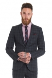 Moss Bros - Moss Bros Slim Fit Grey Textured Check Wedding Suit