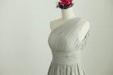 Etsy - Etsy - Gray One Shoulder Chiffon Bridesmaid dress by misdress.