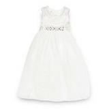 Debenhams - Designer girl's ivory diamante mesh bridesmaid dress