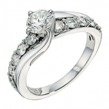 Ernest Jones - 18ct white gold one and a half carat diamond ring