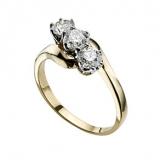 Ernest Jones - 18ct gold one carat diamond three stone ring