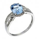 Ernest Jones - 9ct white gold blue topaz and diamond ring