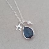 Zoe Hearts - Personalised Denim Blue Gem Necklace
