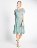 Marks and Spencer Short Sleeved Lace Skater Dress in Duck Egg