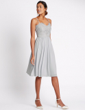 M&S Collection Floral Lace Strap Swing Dress in Silver Grey