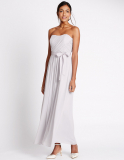 M&S Collection Strapless Pleated Maxi Dress with Belt in Silver Grey