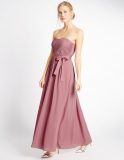 M&S Collection Strapless Pleated Maxi Dress with Belt in Antique Pink