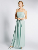 Marks and Spencer Strapless Pleated Maxi Dress with Belt in Duck Egg