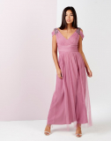 LITTLE MISTRESS EMBELLISHED DRAPE SHOULDER MAXI DRESS