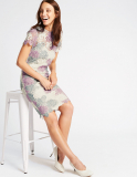 Swirl Lace Short Sleeve Bodycon Midi Dress