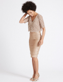 Shutter Pleat Floral Lace Shift Midi Dress