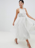 ASOS DESIGN Tulle Midi Dress With Delicate Embellished