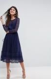 ASOS PREMIUM Lace Skater Midi Dress