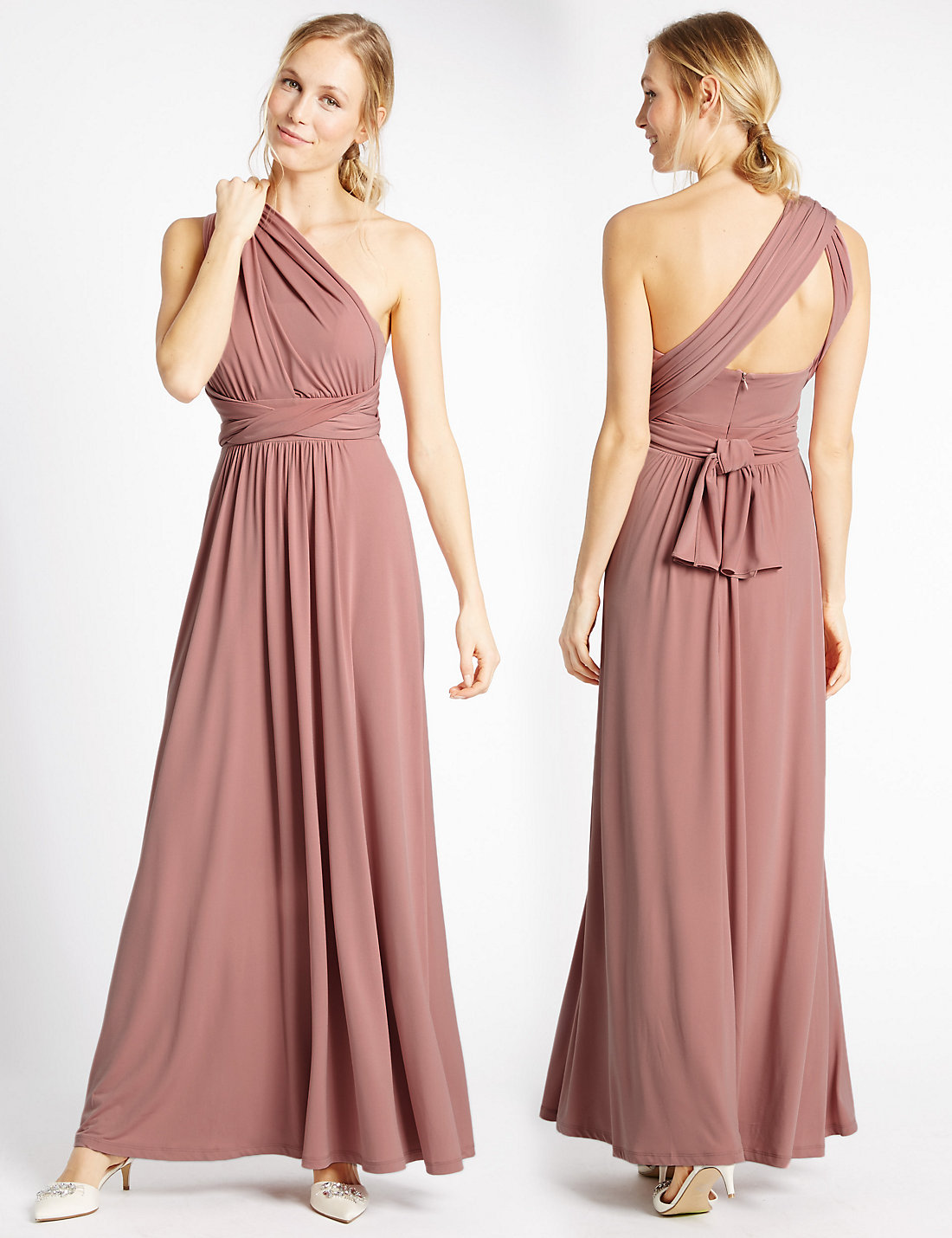 Marks and Spencer Antique Pink Multiway Strap Maxi Dress