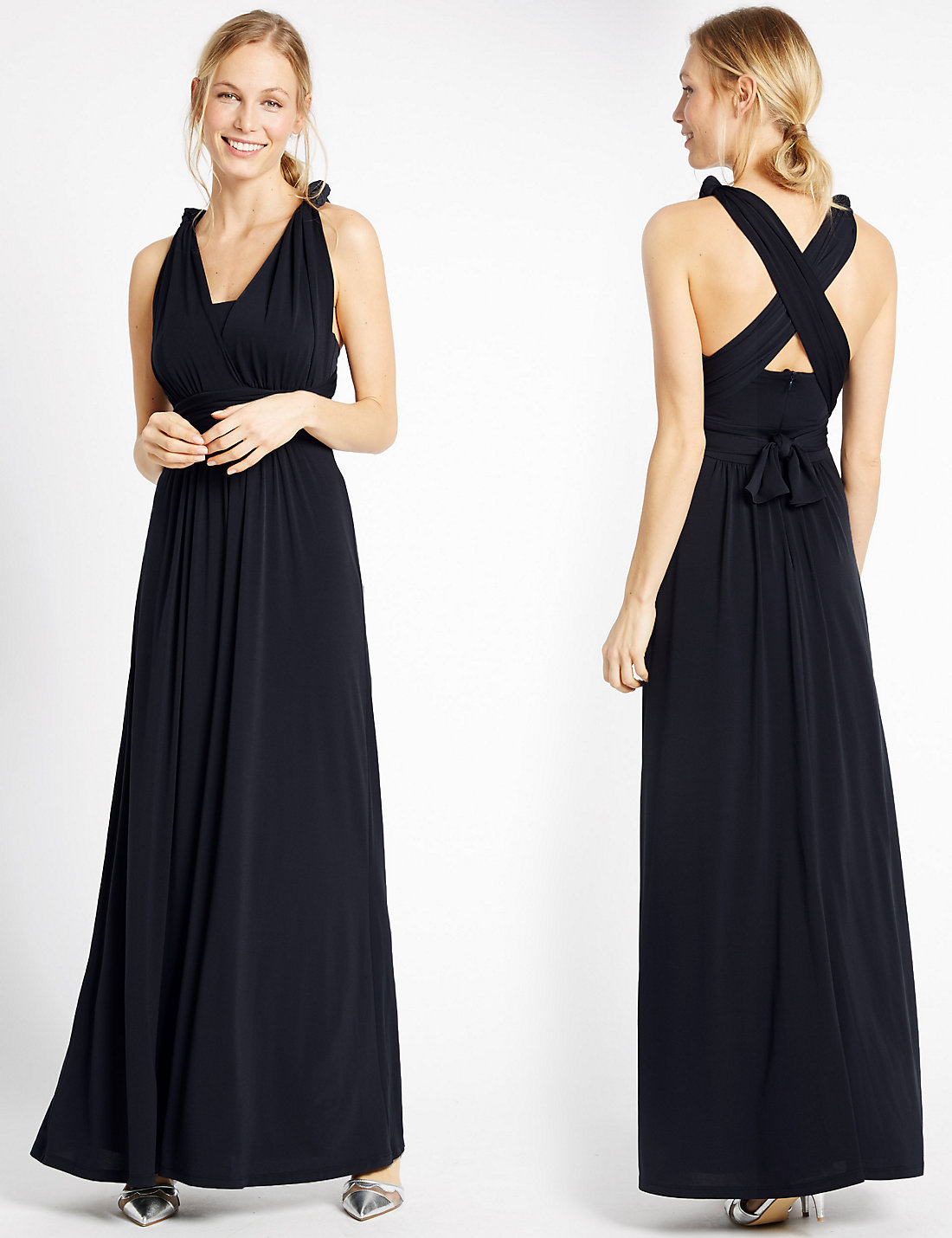 Marks and Spencer Black Multiway Strap Maxi Dress