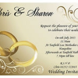 10 Personalised Gold Rings Wedding Invitations N8