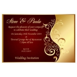 10 Personalised Red & Gold Wedding Invitations N25