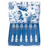 Set of six 'Botanic Blue' pastry forks