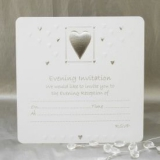 Luxury Wedding Evening Invitations - Pack of 10 - White & Silver