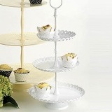 WHITE 3 TIER HEART CAKE STAND