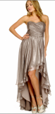ARIELLA IVY STRAPLESS MELATIC CHIFFON DRESS SILVER