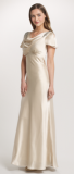 ARIELLA AMORIE SATIN BACK CREPE COWL LONG DRESS