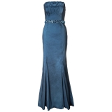 ARIELLA DENISE STRETCH TAFFETA LONG STRAPLESS DRESS BLUE