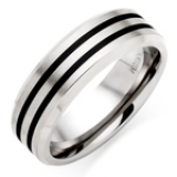 MEN'S TITANIUM AND BLACK RHODIUM RING