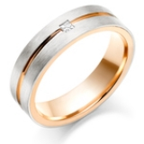 PALLADIUM AND 9CT ROSE GOLD MEN'S DIAMOND WEDDING RING