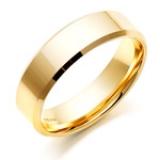 MEN'S GOLD BEVELLED EDGE WEDDING RING