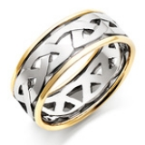 MEN'S 18CT TWO COLOURED GOLD CELTIC WEDDING RING