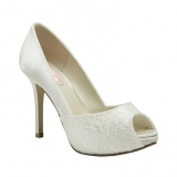 Debenhams Pink By Paradox London Ivory Satin & Lace Peep Toe Wedding Shoes