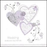 6 Wedding Day Invitation Cards & Envelopes Lilac & Silver Hearts