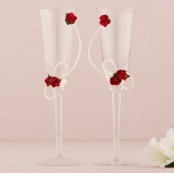 Romantic Red Wedding Champagne Flutes