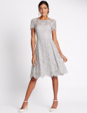 M&S Short Sleeved Lace Skater Dress