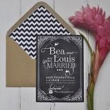 Hashtag Chalkboard Wedding Stationery Invite