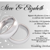 10 Personalised Silver Rings Wedding Invitations N44