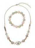Evans - EVANS PEACH BEAD JEWELLERY SET