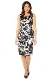 Amazon - Roman Originals - Printed Satin Peplum Dress
