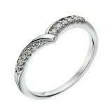 Ernest Jones - 9ct white gold diamond set wishbone shape ring