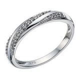 Ernest Jones - 9ct white gold 10 point diamond twist ring