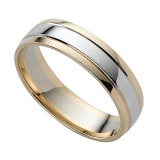 Ernest Jones - 9ct two-colour gold wedding ring