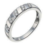 Ernest Jones - 9ct white gold five row 12 point diamond ring